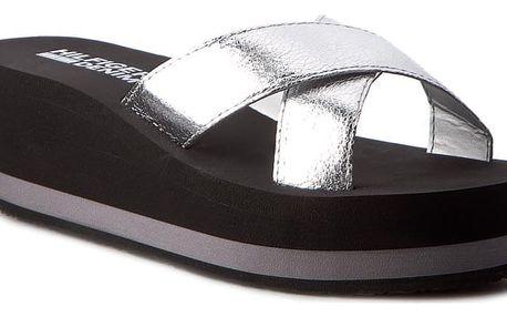 Stříbrné pantofle Tommy Hilfiger na klínku SEASIDE 1D Silver