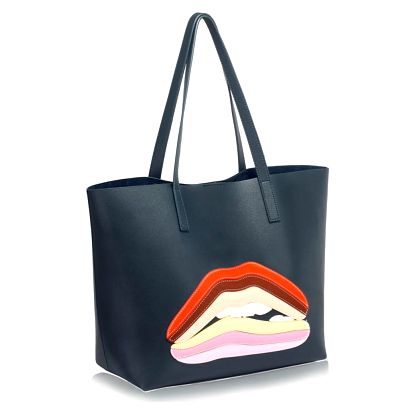 Tmavě modrá kabelka L&S Bags Lips