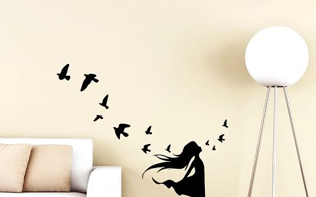 Samolepka Ambiance Girl and Bird