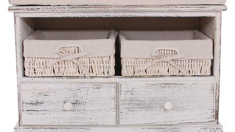 Bílá dřevěná lavice s košíky Mendler Shabby - doprava zdarma!