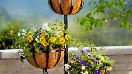 Kovový stojan na květiny s led lucernou