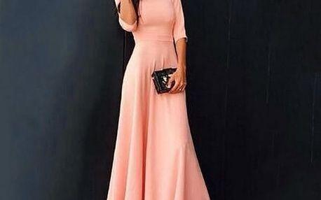 Dlouhé šaty s tříčtvrtečním rukávem - 3 barvy