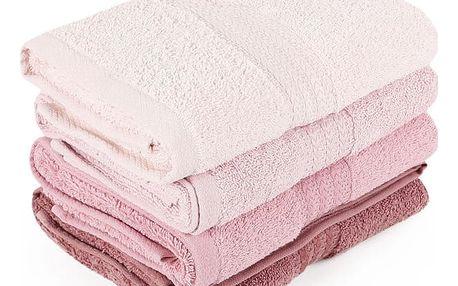 Sada 4 pudrově růžových ručníků Rainbow Dusty Rose, 50x90cm