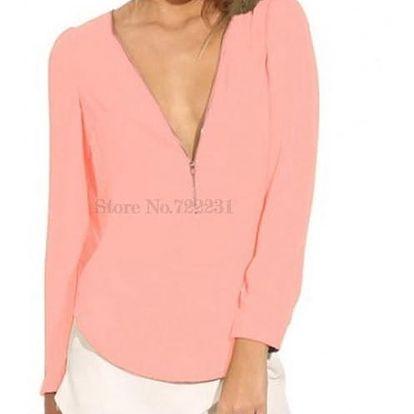 Dámské triko s hlubokým výstřihem - růžová, velikost 5