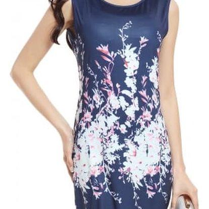 Elegantní dámské šaty se vzorem - velikost č. 6 - modré