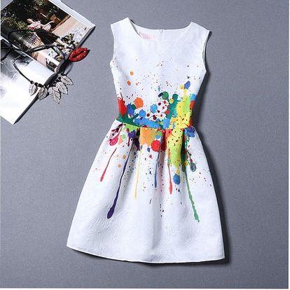 Dívčí šaty bez rukávů s originálním motivem - varianta 7 - velikost č. 5