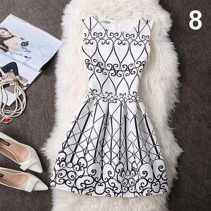 Elegantní šaty s originálními motivy - Varianta 8 - Velikost 4