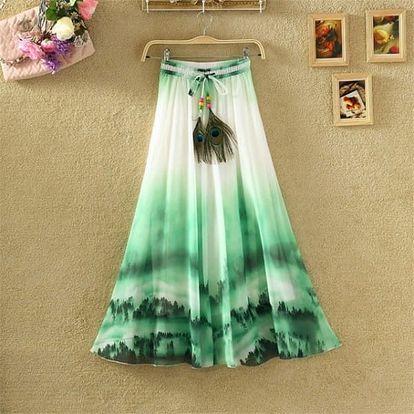 Lehká dlouhá letní sukně - varianta 21