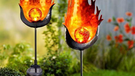 """Solární zahradní zápich """"oheň"""", sada 2 ks"""