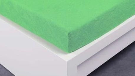 XPOSE ® Bambusové froté prostěradlo dvoulůžko - letní zelená 200x220 cm