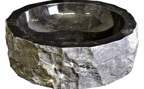 DIVERO umyvadlo z přírodního kamene - černý mramor