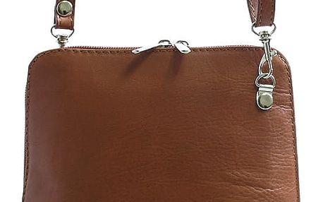 Hnědá dámská kožená kabelka crossbody 10053 hnědá