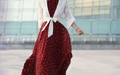 Dlouhé letní šaty s puntíky - Červené - velikost č. 5