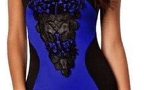 Dámské šaty se sexy krajkovaným výstřihem - modré - vel. 2