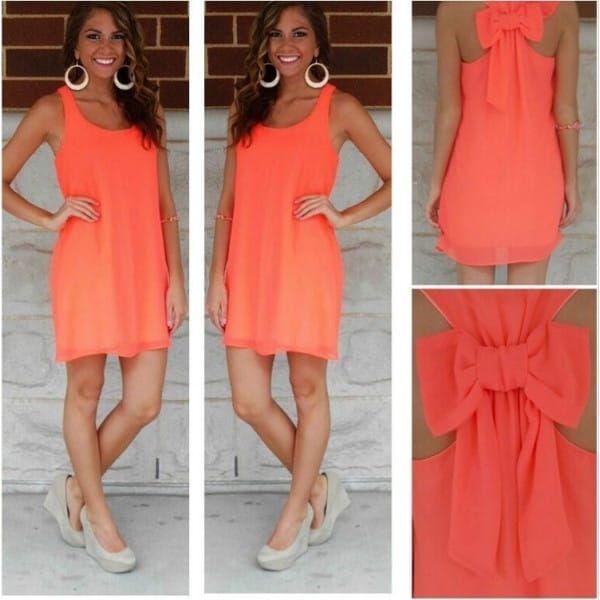 Letní šaty s mašlí na zádech - Oranžová - velikost č. 5