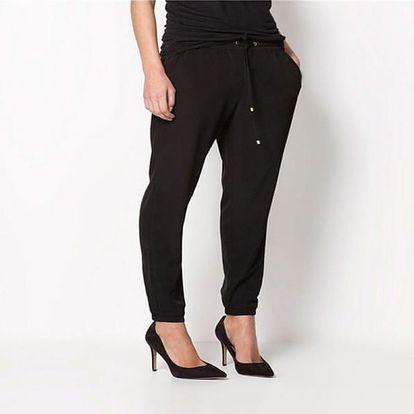 Pohodlné dámské kalhoty z příjemného šifonu - velikost 4 - Černá