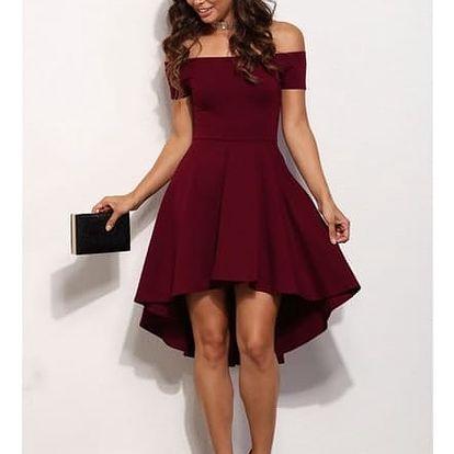 Elegantní jednobarevné šaty - Červená - velikost č. 4