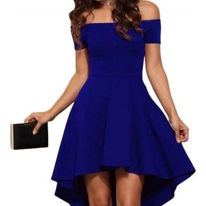 Elegantní jednobarevné šaty - Modrá - velikost č. 5