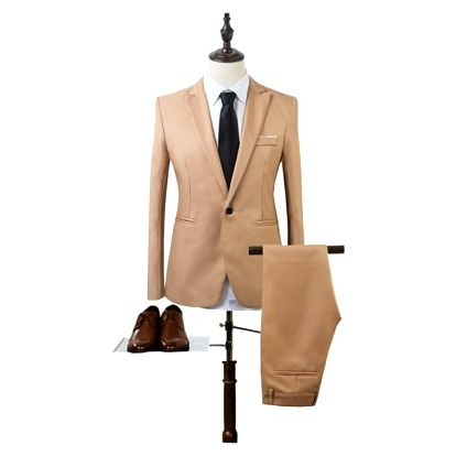 Pánský společenský oblek - Khaki - velikost č. 4 - dodání do 2 dnů