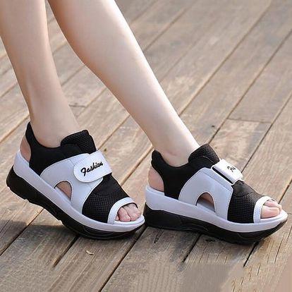 Dámské turistické sandále na suchý zip - Černobílé - 22,5 cm (vel. 35 cm)