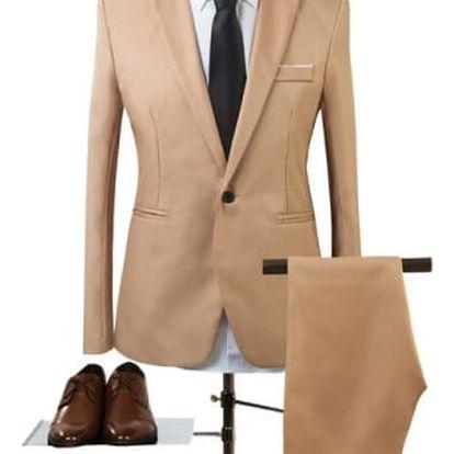 Pánský společenský oblek - Khaki - velikost č. 4