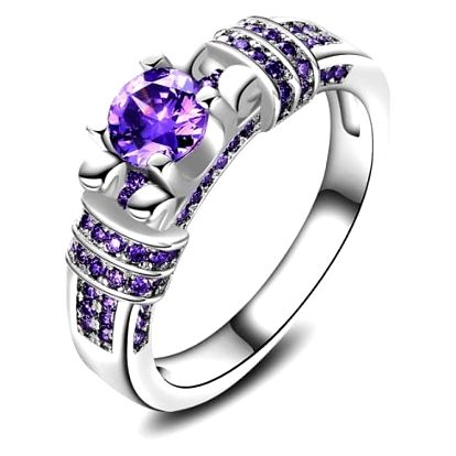 Dámský prstýnek s fialovým kamínkem