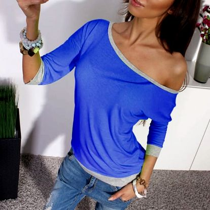 Tričko se spadlým rukávem - Modrá, velikost 2