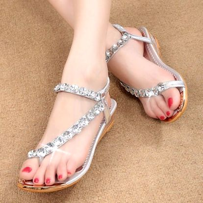 Dámské sandály s kamínky - stříbrné, vel. 38
