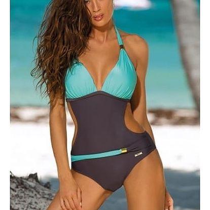 Jednodílné plavky v atraktivních barvách - Zelené - velikost č. 4