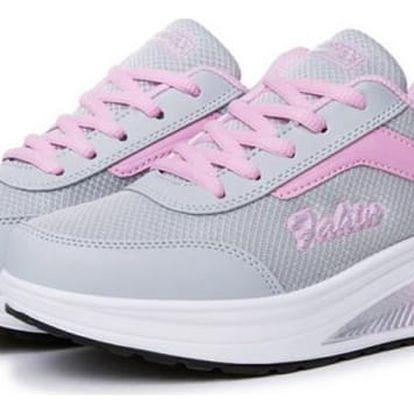 Dámská sportovní obuv s vyšší podrážkou - Světle růžová - 40