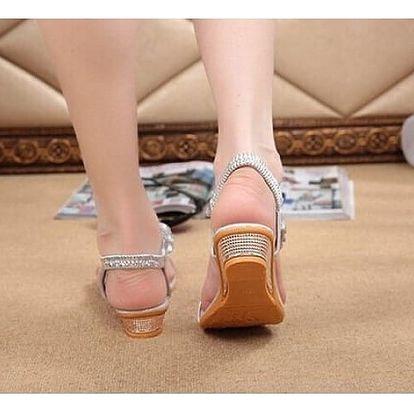 Dámské sandály s kamínky - zlaté, vel. 38