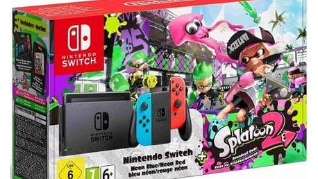Herní konzole Nintendo Switch s Joy-Con - modro/ červená + Splatoon 2 (NSH010) červená/modrá