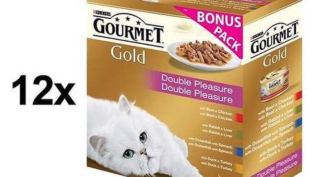 Konzerva Gourmet Gold směs dušených a grilovaných kousků Multipack 12 x (8 x 85g) + Doprava zdarma
