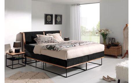 Černá dvoulůžková boxspring postel Sinkro Berlin Calling, 180x200cm - doprava zdarma!