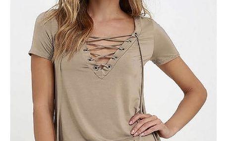 Dámské tričko s V výstřihem a tkaničkou - Khaki - velikost 3