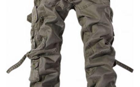 Pánské kalhoty s kapsami - armádní zelená, vel. 9