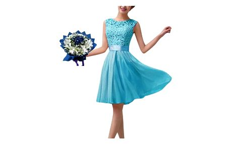 Dámské letní šaty s krajkovým topem - modrá, vel. 6