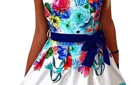 Veselé dámské šaty s květinami - Modré - velikost č. 2