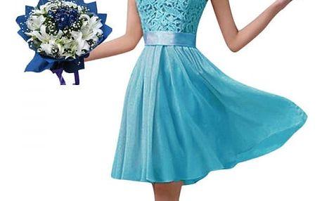 Dámské letní šaty s krajkovým topem - Modré - velikost č. 6
