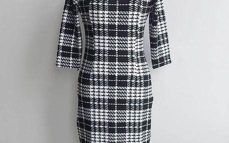 Letní šaty s mřížkovaným vzorem pro dámy - velikost 5 - Černá