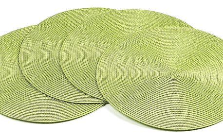 Jahu Prostírání Deco kulaté světle zelená, pr. 35 cm, sada 4 ks