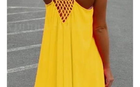 Dámské šaty plážové v pestrých barvách - Žluté - velikost č. 5
