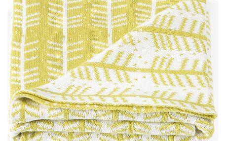 Tmavě žlutá oboustranná deka Roomblush Baby Feathers,80x100cm