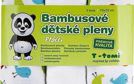 T-TOMI Bambusové BIO pleny, sada 3 ks, ptáčci