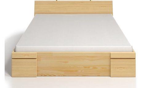 Dvoulůžková postel z borovicového dřeva se zásuvkou SKANDICA Sparta Maxi, 160x200cm - doprava zdarma!