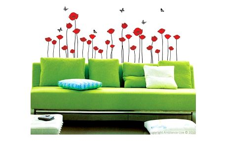 Sada samolepek Ambiance Red Poppy Flowers