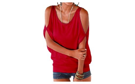 Dámské plus size tričko s otvory na ramenou - červené, velikost 2