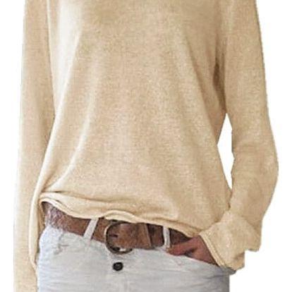 Dámské ležérní triko s dlouhým rukávem - Bílé, velikost 5