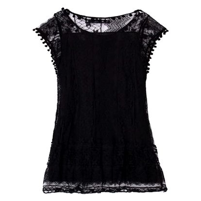 Bohémské letní šaty s krajkou a bambulkami - černé, vel. 9