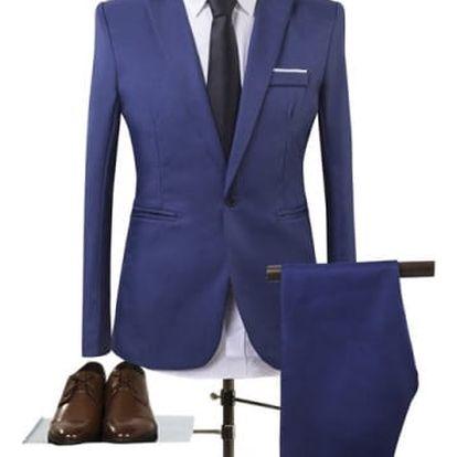 Pánský společenský oblek - sapphire modrá, vel. 5